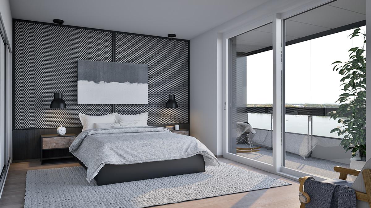 Havainnekuva 4h+kt+s 102m² makuuhuoneesta