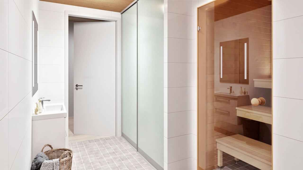 Havainnekuva 3h+kt+s 89m² kylpyhuoneesta